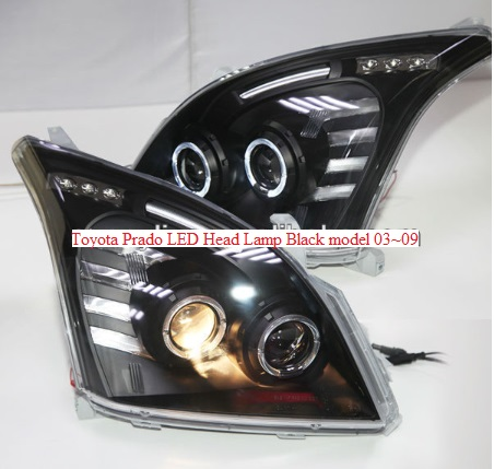 Toyota Prado Led Head Lamp Black